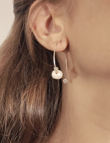 Pendiente penannular perla
